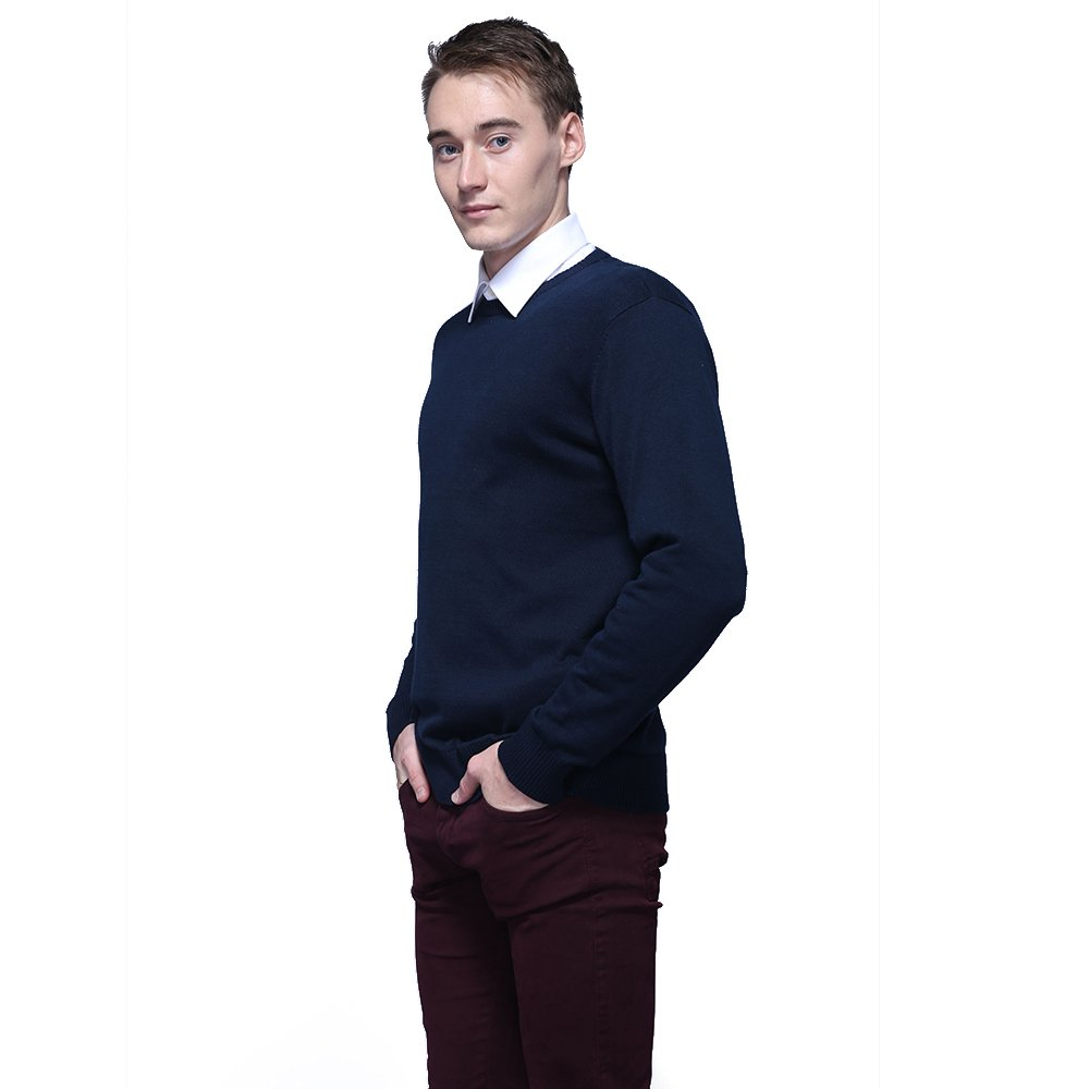 FASHIONMIA Mens Casual Solid Slim Fit Sweater Pullover Dark Blue L by FASHIONMIA (Image #4)