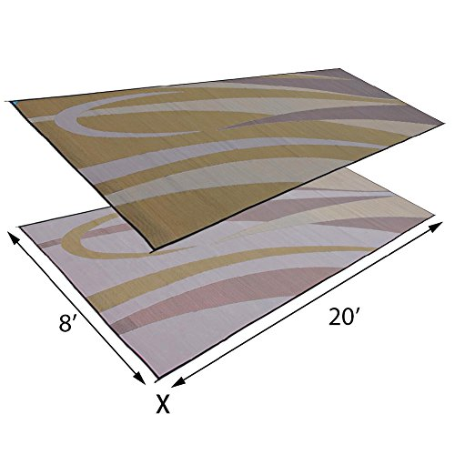 Stylish Camping Ming's Mark GC7 Stylish Camping Reversible Graphic Patio Mat - 8' x 20', Brown/Gold