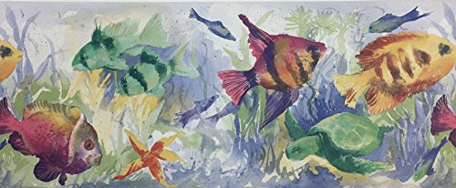 Tropical Fish Aquarium Underwater Vegetation Wallpaper Border Waverly No. ()