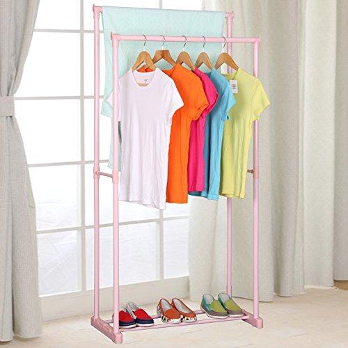 Double clothes rack bold floor clothes Rod Indoor balcony simple hanger quilt rack,Pink