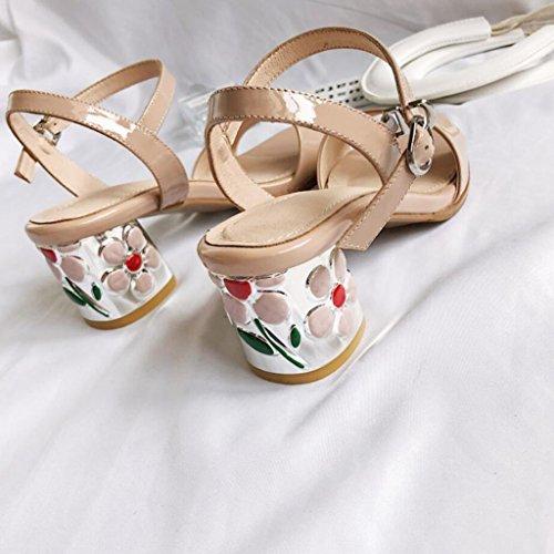 Nude Fiesta de para Color color Flores GAOLIXIA altos Correa cuero Negro de Tacones Sandalias casuales verano moda tobillo de Correa Zapatos abierta en punta Banquete de T mujeres de Bombas nude COXqRw