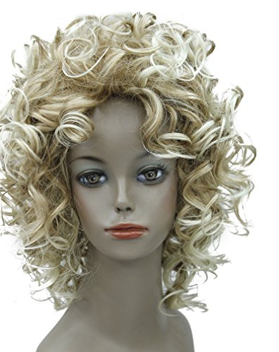 [Kalyss Women's Full Curly Short goldenn Blonde Hair Wigs] (Sandy Wig)