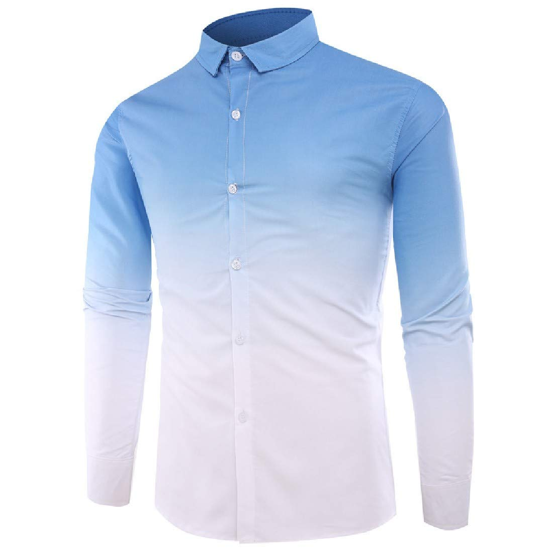 YUNY Mens Spring Oversize Ombre Long-Sleeve Tees Top Shirts Light Blue L
