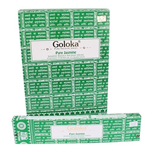 Goloka - Pure Jasmine - Jasmine Incense Sticks - 12 Boxes of 15 Grams ( 180 Grams Total ) by Goloka
