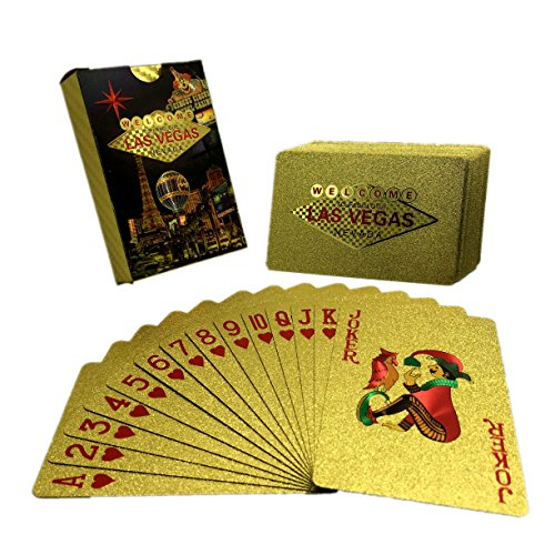 UPoker 24K Gold-Foil Plated Playing Cards Poker Table Games