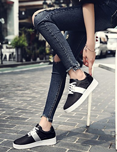 ocasionales de hembra planos femeninos los Negro mujer Zapatos la placa zapatos para Blanco la de HWF respirables 39 malla Zapatos estudiante Tamaño Color del verano de plana Escoja del la Z1IcnWU