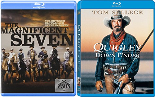 The Magnificent Seven + Quigley Down Under Blu Ray Western Pack 2 Movie Set Action Bundle