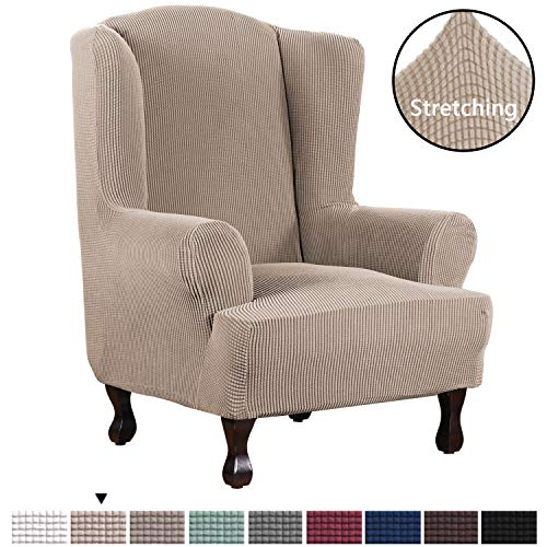H.VERSAILTEX 1 Piece Super Stretch Stylish Furniture Cover/Wingback Chair Cover Slipcover Spandex Jacquard Checked Pattern, Super Soft Slipcover Machine Washable/Skid Resistance (Wing Chair, Sand) (Wing Chair Leather Back)