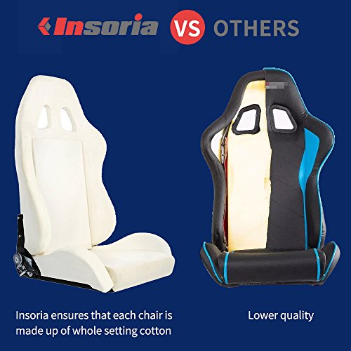 Insoria Swivel Gaming Chair Ergonomic Racing Style PU Leather Office Chair with Lumbar Massage Support and Retractable Footrest (Blue/Black)