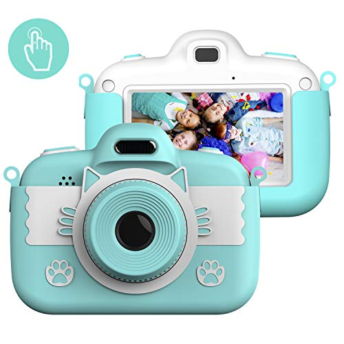 Themoemoe Kids Camera Toys for 3-12 Year Old Girls, Children's Camera 3 Inch Touch Screen 8.0MP Games Camera Video with Protective Bag with 16GB Micro SD for Children Birthday Gift (Blue)