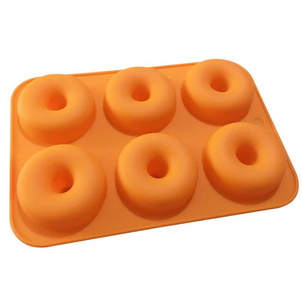 Xiton 1 Paquete de Molde de Donuts de Silicona 6 cavidades antiadherentes Seguridad Hornear Pan Maker Pan Caliente Torta Galleta Bagel Muffin (Naranja): ...