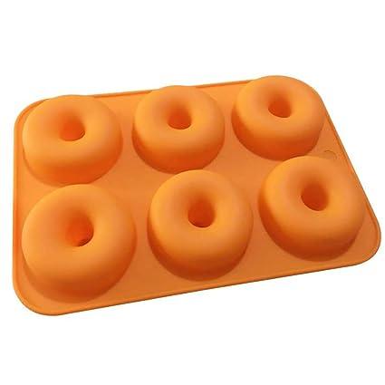 Xiton 1 Paquete de Molde de Donuts de Silicona 6 cavidades antiadherentes Seguridad Hornear Pan Maker