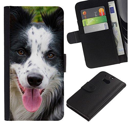 EuroCase - HTC One M8 - border collie breed dog pet muzzle - Cuero PU Delgado caso cubierta Shell Armor Funda Case Cover