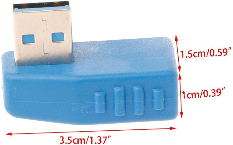 Wondiwe 90 Degree Left Angled USB 3.0 A Male to Female Converter Adapter for Laptop PC