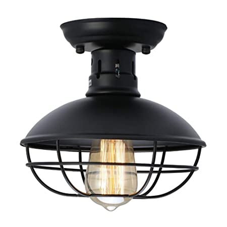 QEQ Vintage Industrial Edison Metal Jaula Lámpara Retro Lámpara de ...