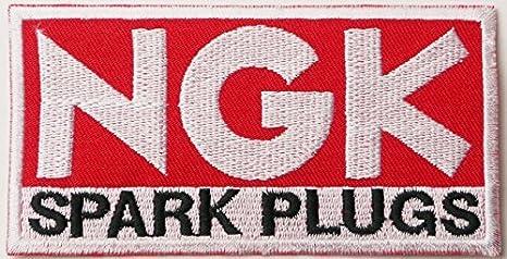 NGK Bujías Logo Sign patrocinador Motorsport Racing carreras Biker coche motocicleta equipo parche hierro en Applique bordado camiseta chaqueta disfraz por ...