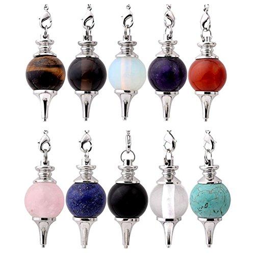 Jovivi Beautiful Pendulum Dowsing Chakra Pendant with Chain(Mixed 10pc) ()