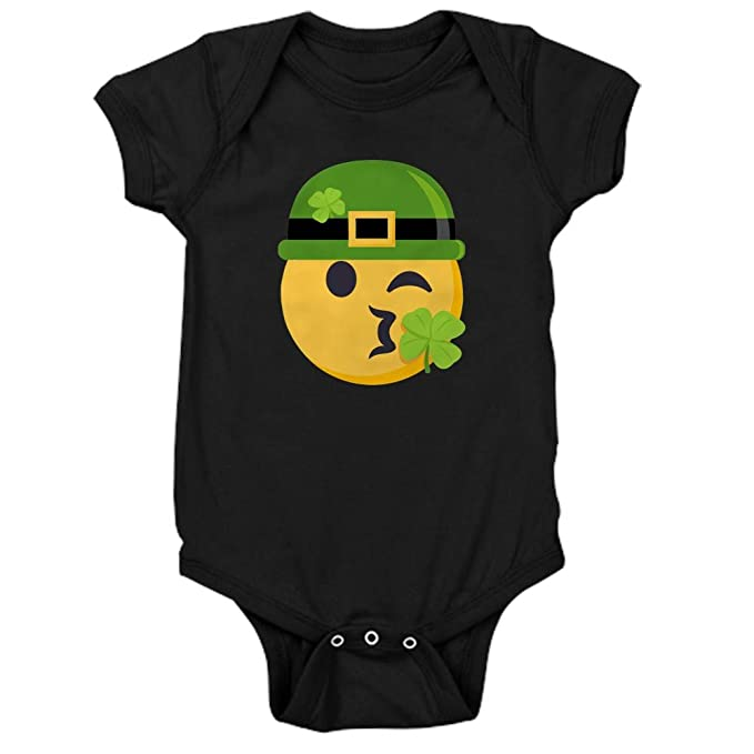 b5fc40311f010 CafePress Shamrock Kiss (W Hat) Cute Infant Bodysuit Baby Romper Black