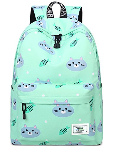 Bookbags for Teens, Cute Cat and Fish Laptop Backpack School Bags Travel Daypack Handbag by Mygreen Green