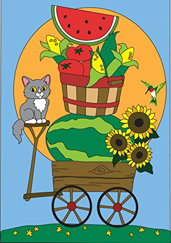Summer Wagon Watermelon and Sunflowers 42 x 29 Rectangular Double Applique Large House Flag