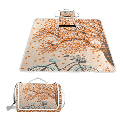 IMOBABY Bicycle And Autumn Tree Large Waterproof Outdoor Picnic Blanket, Portable Folding Picnic Blanket Mat with Tote for Family Camping by IMOBABY