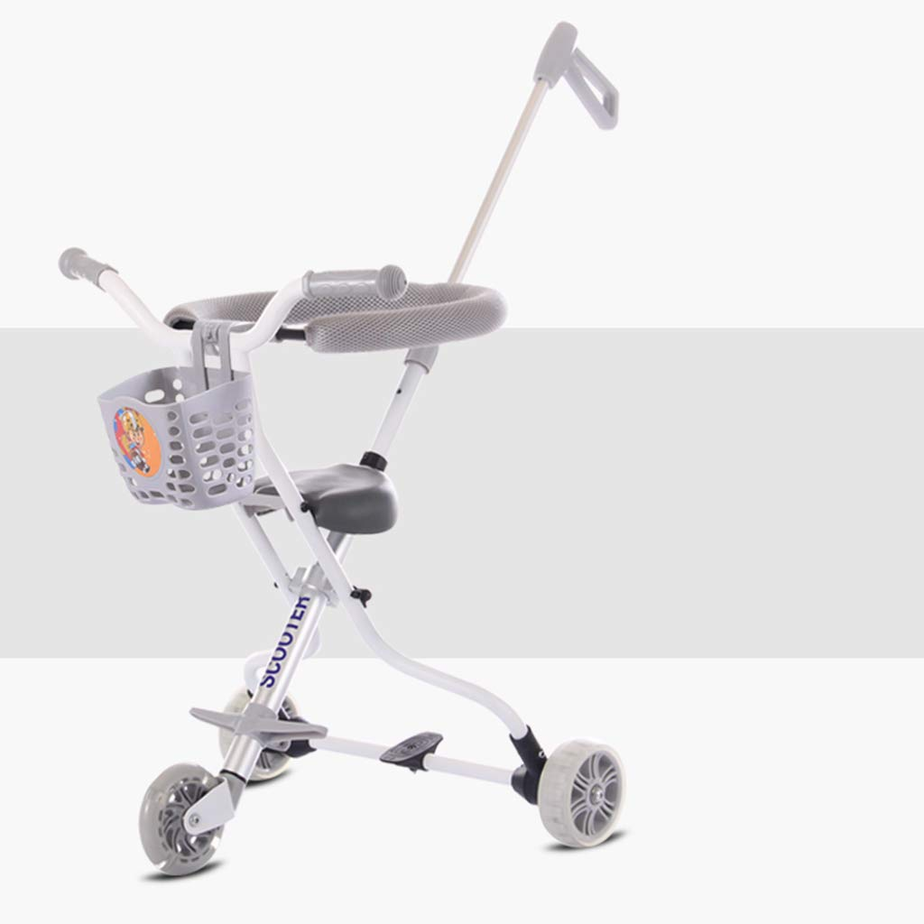 Baby Four-Wheeled Shatter-Resistant Lightweight Folding Children's Trolley Trend Adventure Travel System Range Aviation Aluminum Silver 6.3. (Color : Silver, Size : D)