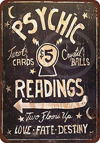 Stevenca Metal Tin Sign Psychic Readings $5 Tarot Cards Crystal Balls Vintage 8x12 Inch Wall Decor