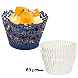 DIYxin 60Pcs Lace Cupcake Wrappers+ 60Pcs White Cupcake Liners for Wedding, Birthday Party, Navy Blue