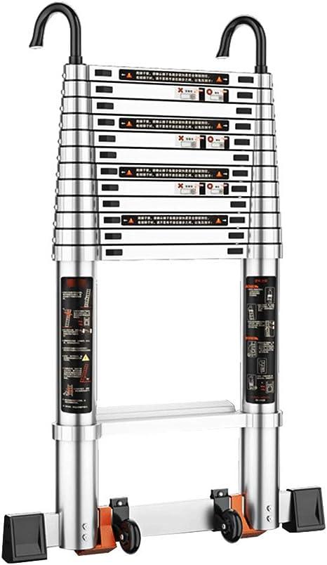 Qi Tai Escalera Recta Escalera telescópica La Escalera de extensión portátil se Puede Levantar y Ajustar Escalera de Aluminio for construcción Industrial doméstica Escalera telescópica: Amazon.es: Hogar