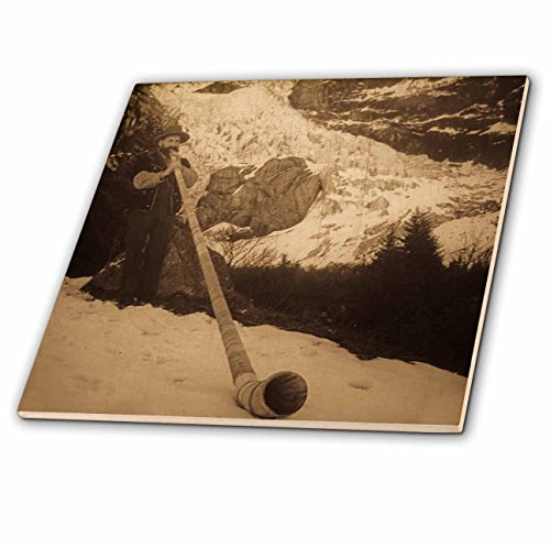 Price comparison product image 3dRose ct_8506_4 Vintage Swiss Man Blowing a Giant Alpine Horn Sepia-Ceramic Tile, 12-Inch