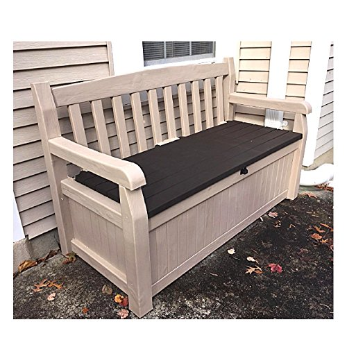 50 Inch Wide Storage Bench Outdoor Loveseat Deck Box Slat Style Farmhouse Waterproof Arm Lockable Seat & eBook