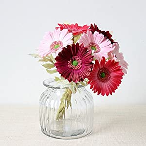 7PCS Real Touch PU Artificial Barberton Daisy Gerbera Daisy Flowers Bunch Bouquet Arrangements for holiday Bridal Bouquet Home Party Decor bridesmaid 2