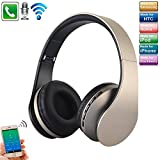 TechCode Foldable Wireless Headphone, Bluetooth Stereo Headset Digital 4 in 1 Over Ear EDR Headphones Wired Earphones w/Mic Support SD/TF Card/3.5mm Audio Input for Travel Cell Phones or More,Gold