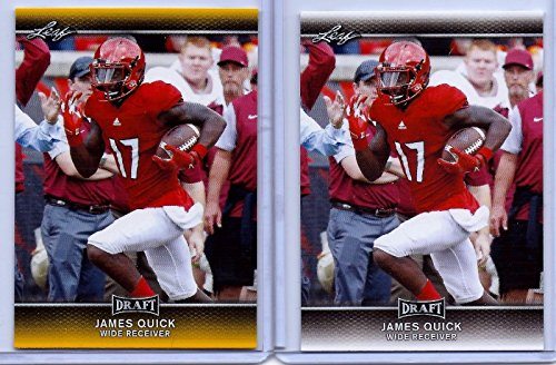 - (2) JAMES QUICK 2017 LEAF DRAFT GOLD PARALLEL 2