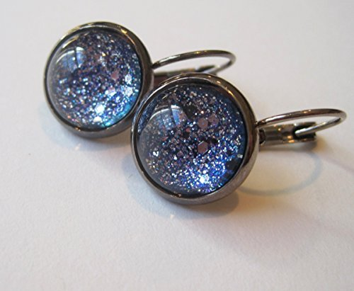 Hematite-tone Blue Silver Black Glitter Glass Galaxy Lever-back Drop Earrings Hand-painted