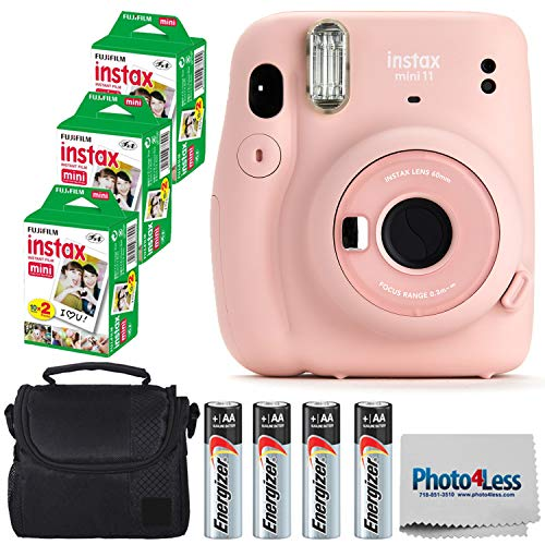 Fujifilm Instax Mini 11 Instant Camera – Blush Pink (16654774) + 3x Packs Fujifilm Instax Mini Twin Pack Instant Film…