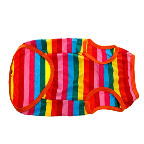 Pill Capsule Costume (Itemap Summer Rainbow Stripe Pet Puppy Dog Cat Clothes Vest T Shirt Apparel Costume (L))