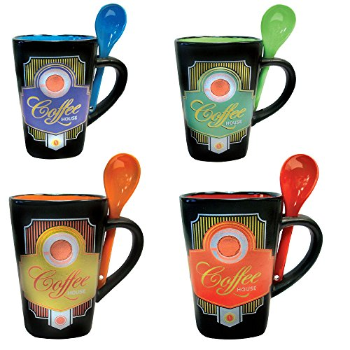 Mug And Spoon In Handle Glazed Ceramic 11 Ounce Coffee House Mug And Tea Cup Unique Designer Cups Set Of 4 Buy Online In Aruba At Aruba Desertcart Com Productid 70164432