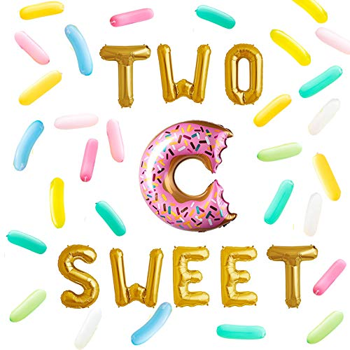 Two Sweet Letter Balloon Donut Birthday Decor Twin 2nd Birthday Party Candy Sprinkle Balloons Baby Birthday Party Gold Decorations ()