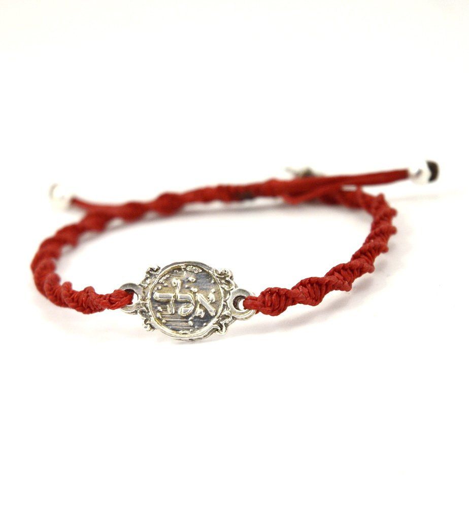 Red Cotton Cord Macrame Twisted Bracelet with Sterling Silver Coin for Protection - Women 6.5'' - 7.5''