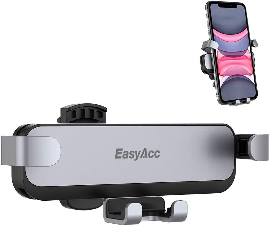 EasyAcc Supporto Telefono da Auto Porta Cellulare per Auto Presa dAria Rotazione A 360/° Universale Auto-Retrattile Nero Ventosa Compatibile for iPhone,Samsung Galaxy,Huawei,Xiaomi,OnePlus Etc