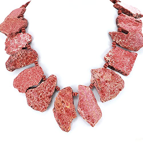 Red Variscite Jasper Nugget Hand Knotted Necklace with Gold Tone Toggle 21.5