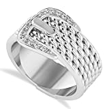 14k Gold (0.15 ct) Diamond Belt Buckle Ring