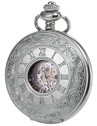 Dial Mechanical Silver (KS Men's Silver Hollow Case Mechanical Pocket Watch Retro KSP030)