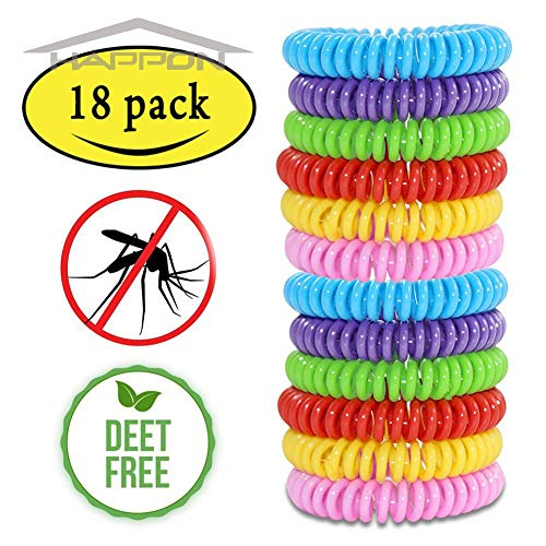 Happon Mosquito Repellent Bracelets, Natural Mosquito Coils for Kids & Adults(18 Pack) Waterproof Elastic Coil Pest Control Bug Repellent Wristbands up to 300 Hrs Protection, Deet-Free and Bugs Free
