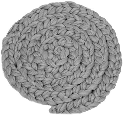 Fenteer 新生児 ベビーシャワー 出産祝い 誕生日 記念写真 小道具 ロービング 編み込み ウールスピニング ラグ ソフト 毛布 敷物 快適 全9色