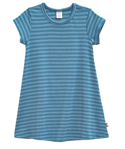 City Threads Big Girls' Cotton Short Sleeve Cover Up Dress for Sensitive Skin SPD Sensory Friendly, Stripe Teal 8