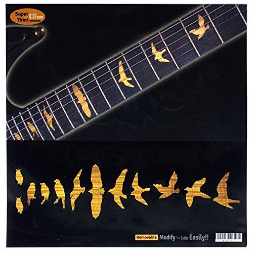 Fret Markers for Guitar & Bass Inlay Sticker Decals -Birds /Tobacco Sunburst