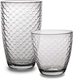 Circleware Hive Huge Set of 16 Drinking Glasses, 8-16oz and 8-13oz Double Old Fashioned Whiskey Glass
