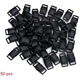 COSORO Side Release Plastic Mini Buckles 3/8 Inch Black--Great Accessories for Chidren Paracord Bracelets(50PCS)